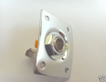 Square Electric Guitar Output Jack Plate Les Paul Chrome