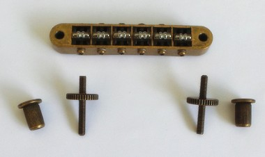 New Roller Bridge,4mm Post Hole,Tune-O-Matic Bridge,With Screw Post and Wheel,Curved Bottom Base,Antiqued Brass finish