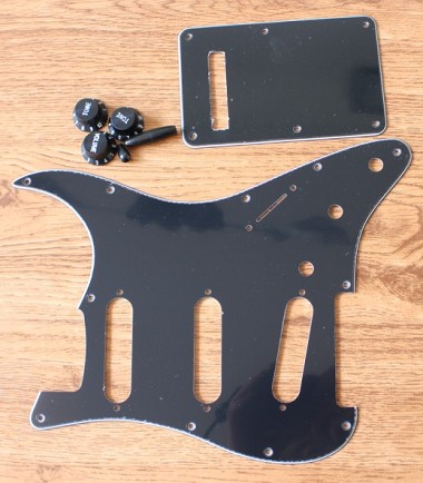 Strat Pickguard Black Kit Knob,Back Cover,Switch Tips
