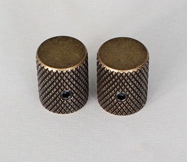 "2Pcs*Antiqued Brass finish,Slim Thin body Flat top Top,Fit for CTS 1/4""(6.35mm) diameter solid shaft pots"