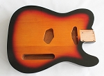 Tele Guitar Body,Alder Wood, Sunburst 3T Gloss Finish,Not drilled string Through Body Ferrule holes
