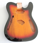 Tele Thinline Style Hollow Guitar Body,Mahogany Wood, Sunburst 3T Gloss Finish,