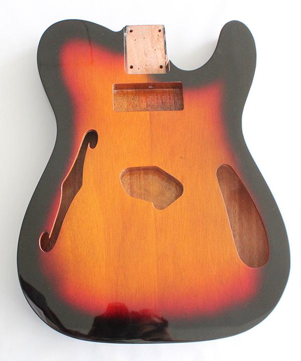 tele thinline style hollow guitar body mahogany wood sunburst 3t gloss finish p90 neck pickup. Black Bedroom Furniture Sets. Home Design Ideas