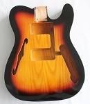 Tele 72 RI Style Hollow Guitar Body,American Ash Wood, Sunburst 3T Gloss Finish,Not drilled string Through Body Ferrule holes