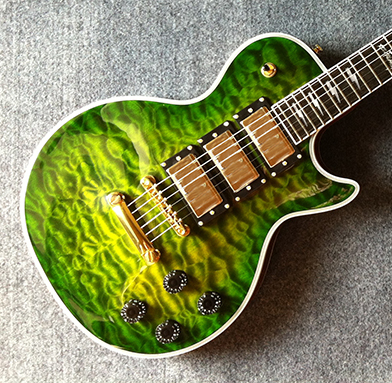 Lp 3 Pickups Green Guitar 2 Weeks Production Time Chrome