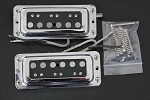 Rickenbacker style Pickup,Metal Chrome,Black,Alnico,Neck and Bridge Set