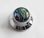 1Pcs*Abalone Top Hat Knob,Chrome Solid Metal,Screw style,for Metric 6mm diameter solid shaft pots,#60325,Chrome