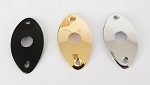 OVAL Electric Guitar Output Jack Plate,Chrome/Black/Gold,#JP-035