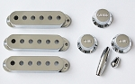 Chrome Strat Pickup Cover,Knobs,Switch /  Tremolo Arm Tips,50mm or 52mm Pickup String Spread,#492