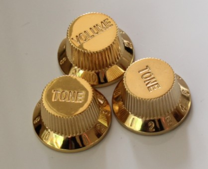 strat 1 vol 2 tone guitar knob gold new metric size. Black Bedroom Furniture Sets. Home Design Ideas