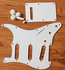 Strat Pickguard White  Kit Knob,Back Cover,Switch Tips