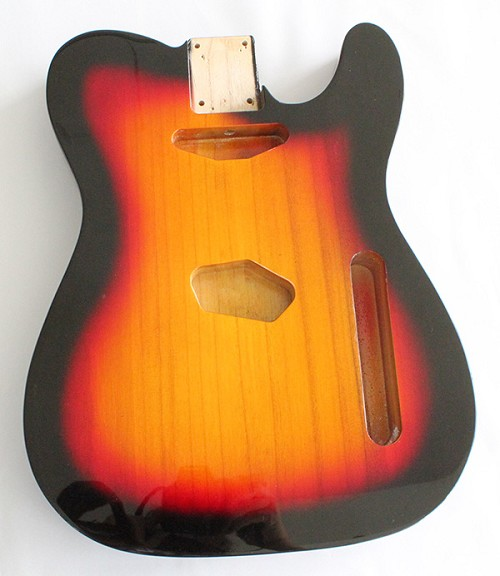 Tele Gutiar Body,Sunburst 3T Gloss Finish,Light Paulownia Wood in good Grain,Not drilled string Through Body Ferrule holes