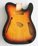Tele Thinline Style Hollow Guitar Body,American Ash Wood, Sunburst 3T Gloss Finish,