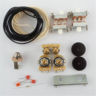 New Wiring Kit,for Jaguar custom,CTS Pots,Switchcraft Jack,White Slide Switch,bracket,rollder knob,Capacitor,Wire,with 56K Resistor