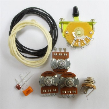 Wiring Kit,for Strat custom,Alpha A250K pot,Quality Level Switch,0.047 and 0.001 capacitor,Wire,#WK-ST62