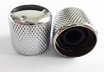 2Pcs*Dome Top Knob,with dot marker on Top,Fit 6mm Knurling shaft Asian made pots,Chrome