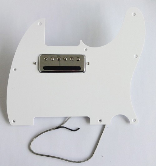 Wider Size Mini Humbucker Pickup,Chrome,Alnico V,and with matched 1 ply pickguard,Color Choice:White or Black