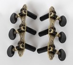 Classic Guitar 3L/3R Machine Heads,Antiqued Brass Finish,Black Button,#405AB-A2B