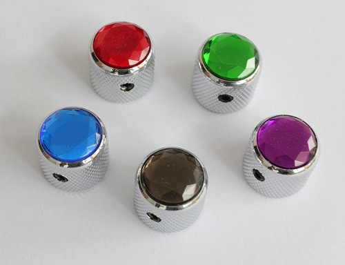 "2Pcs*Multi Small Diamond shape Dome Top Knob,Chrome Solid Metal,Screw style,for CTS 1/4""(6.35mm) diameter solid shaft pots,#65270,Red/Green/Purle/Light Black/Blue"