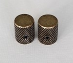 2Pcs*Antiqued Brass finish,Slim Thin body Flat top Top,Fit 6mm Knurling shaft Asian made pots