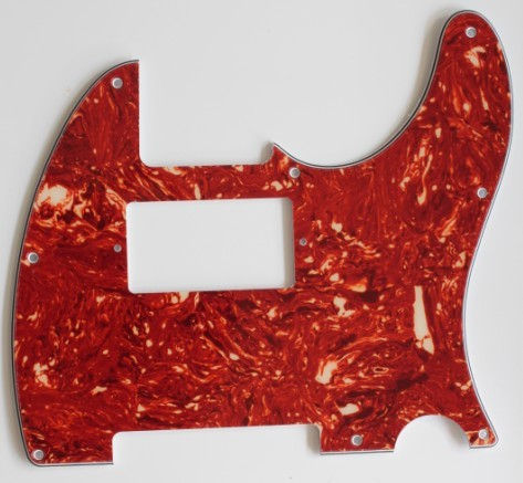 Red Tortoise shell,Tele humbucker cut-out pickguard 8-hole mounting