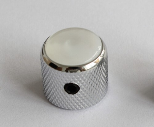 2Pcs*Pearl White Dome Top Knob,Chrome Solid Metal,Screw style,for Metric 6mm diameter solid shaft pots,#60270,Chrome