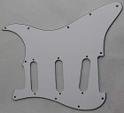 Stratocaster Standard pickguard 3ply White fits fender,but no potentiometer mounting holes,no level switche square hole