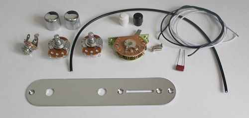 Telecaster Circuit,Pots A250K,Quality 3 Way switch,Capacitor 0.047mf,3pcs Wire,Metal control Plate,Metal Knob,#TCP-X30