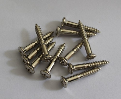 15pcs,Bridge mounting screws for Tele/ P Bass /J Bass,Chrome,Diameter:3.5mm