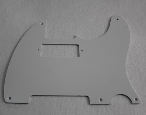 1 ply white '52 Hot Rod Telecaster pickguard,5-hole,pickup cutout for mini humbucker,#CC023