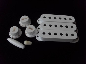 White Strat Pickup Cover,Knobs,Switch / Tremolo Arm Tips,50mm or 52mm Pickup String Spread